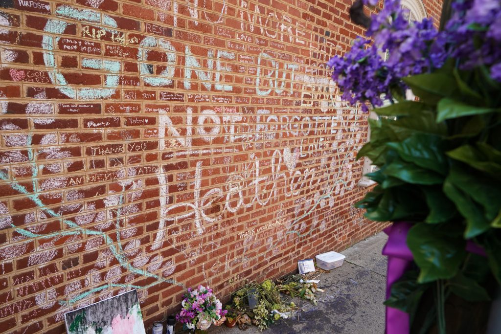A monument to Heather Heyer on what is now Honorary Heather Heyer Way. The 32-year-old paralegal was killed in Charlottesville on August 12. (Kianna Gardner/News21)