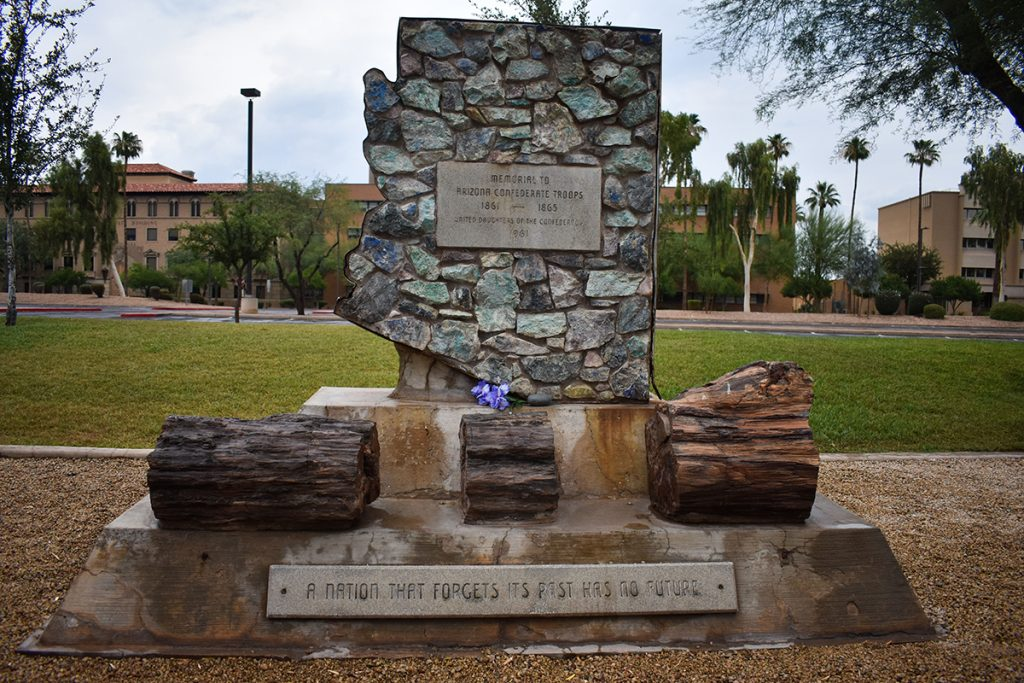 A memorial to Confederate soldiers located at Wesley Bolin Memorial Park, next to the state Capitol in Phoenix, was listed on the SPLC's list of more than 1,700 public Confederate symbols in the U.S. (Lillianna Byington/News21)
