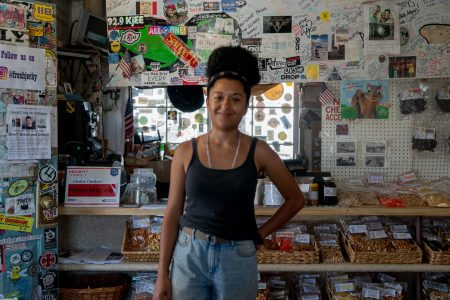 Nora Berguem, a native of the area, studies sociology in Los Angeles and works at Gus's Really Good Beef Jerky during the summer. (Lenny Martinez Dominguez/News21)
