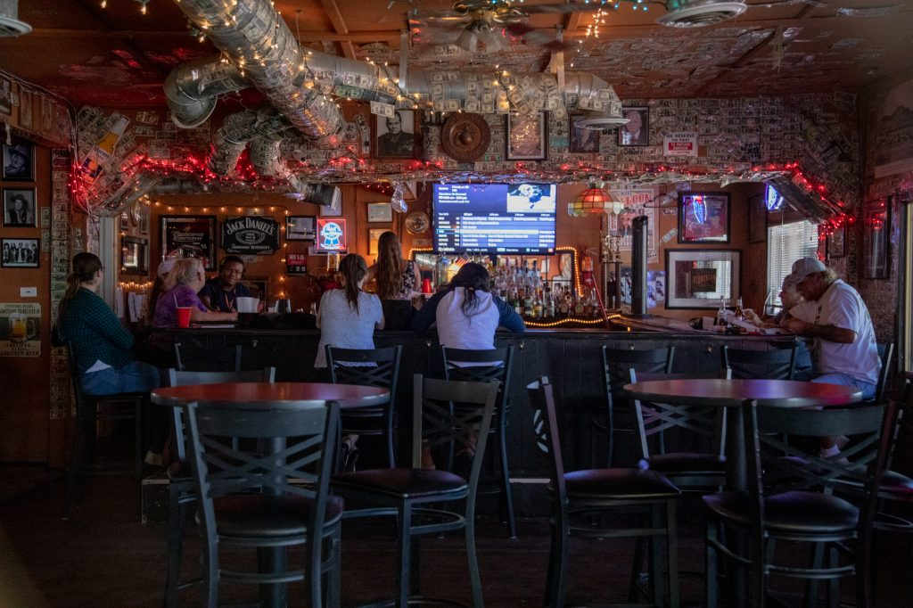 The Virginian Bar in Twentynine Palms, Califonia is located on the corner of 29 Palms Highway and Cholla Avenue. (Lenny Martinez Dominguez/News21)