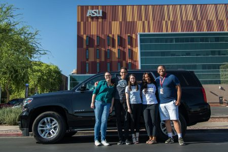 News21 journalists (From left) Alex Lancial, Lenny Martinez Dominguez, Catherine Devine, Penelope Blackwell and Brandon Bounds loaded up their gear and left Phoenix on Tuesday morning for the first leg of a three-week, cross-country reporting roadtrip. (Photo by Jim Tuttle/News21)
