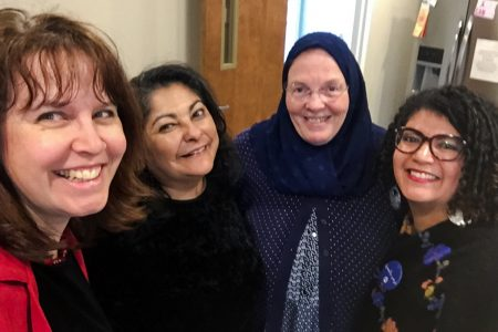 "From left to right, Sandra Makielski, Stephanie A. Griffin, Susan Douglass (from the Alwaleed Bin Al Talal Center for Muslim Christian Understanding at Georgetown University) and Farah Assiraj, Boston Teachers Union organizer, at the ""Understanding the Muslim American Experience: Teacher Leadership Training 2018."" (Courtesy of Sandra Makielski)"