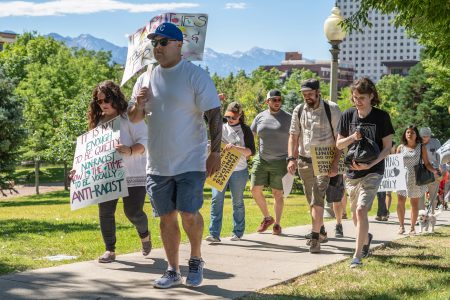 Residents of Salt Lake City gathered at the Utah Capitol to protest President Donald Trump's administration's treatment of immigrants. Utah Highway Patrol estimated more than 2,000 people attended the event. (Lenny Martinez Dominguez/News21)