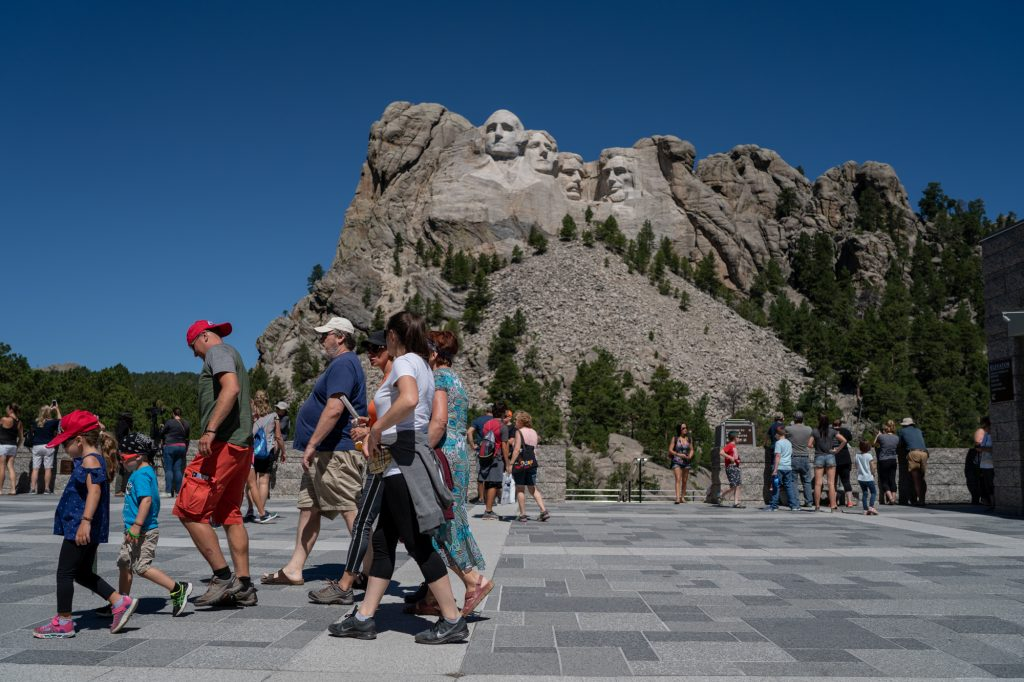 Built over a 14 year period, Mount Rushmore features 60-foot tall sculptures of presidents George Washington, Thomas Jefferson, Theodore Roosevelt and Abraham Lincoln. It attracts more than two million visitors every year to Keystone, South Dakota. (Lenny Martinez Dominguez/News21)