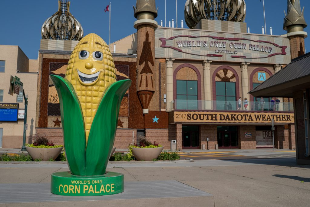 "With an exterior decorated using corn ears, The World's Only Corn Palace in Mitchell, South Dakota, attracts around half a million people each year. The exterior murals change annually with a different theme. This year's theme was ""South Dakota Weather."" (Lenny Martinez/News21)"