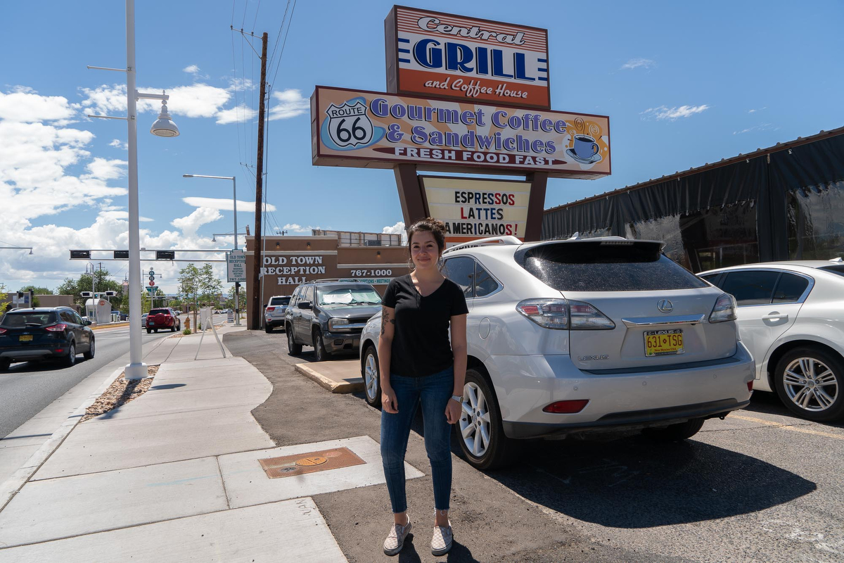 Central Grill and Coffee House is in Albuquerque, home to roughly 550,000 people. Waitress Maya Vigil (pictured) is a student at the nearby University of New Mexico.