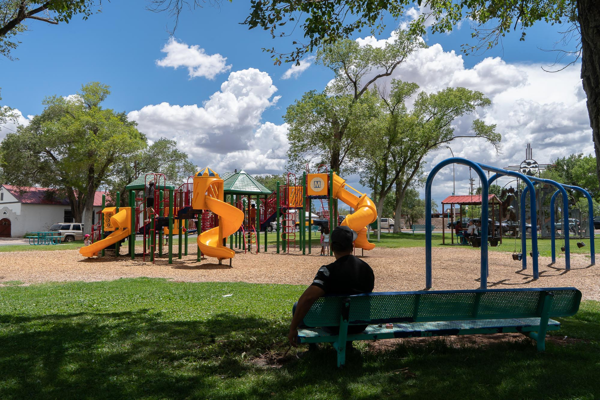 Riverwalk Park is in Grants, New Mexico, along Route 66. About 9,000 people live in Grants.