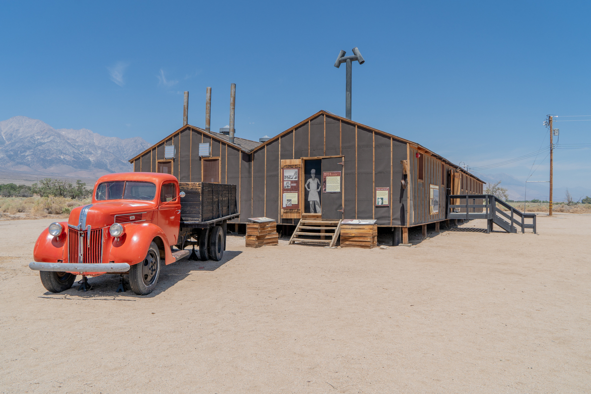 The restored mess halls, moved to Manzanar National Historic Site in late 2002, are the same as those used by Japanese-Americans interned at Manzanar during World War II.