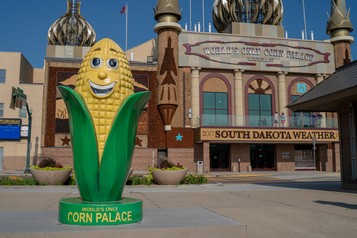 "The Corn Palace in Mitchell, South Dakota, adorned with onion domes and ears of corn, attracts around half a million people a year. The exterior murals change every year with a different theme. For 2017, the theme was ""South Dakota Weather."""