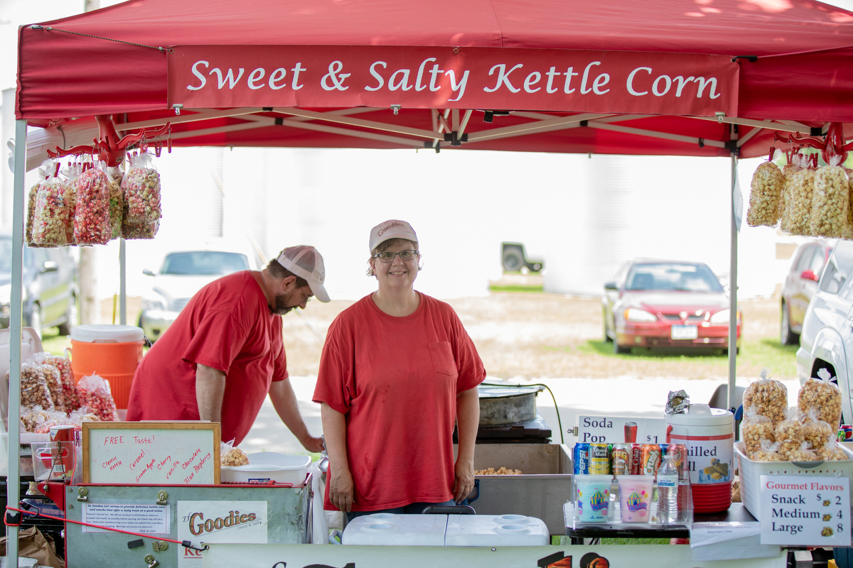 "Lauri Haynes took a moment from staffing the kettle corn booth to talk with News21. ""It's like everyone's reading headlines and making opinions based on one person and it's juvenile,"" she said. (Alex Lancial/News21)"
