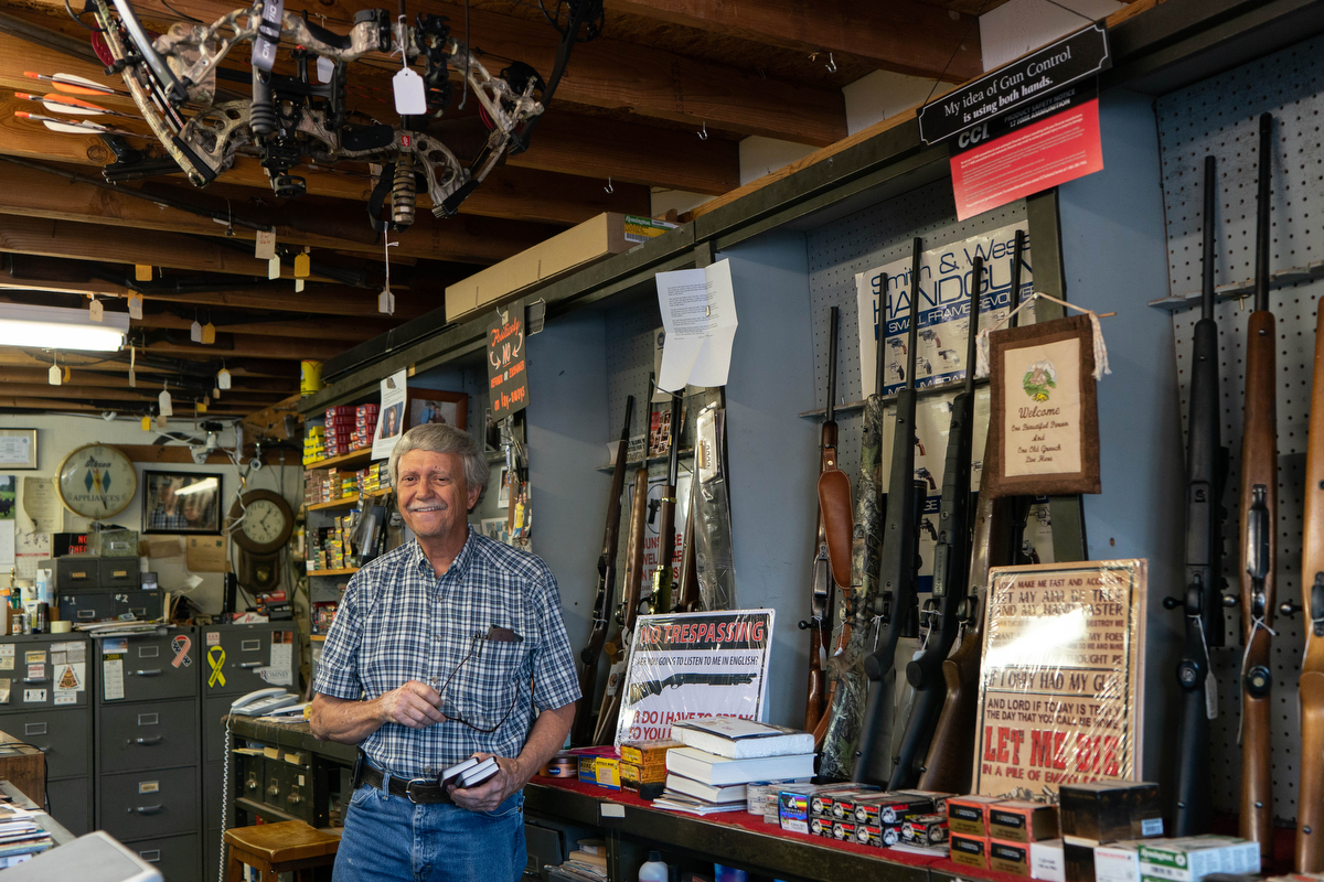 "Steve Stout is the owner of Stout & Son Pawn Shop in Elk City, Oklahoma. ""We are highly satisfied with our president,"" Scout said. ""I am more proud of my nation now than I have ever been, and since Ronald Reagan, he was the next best president we've had."" (Tilly Marlatt/News21)"
