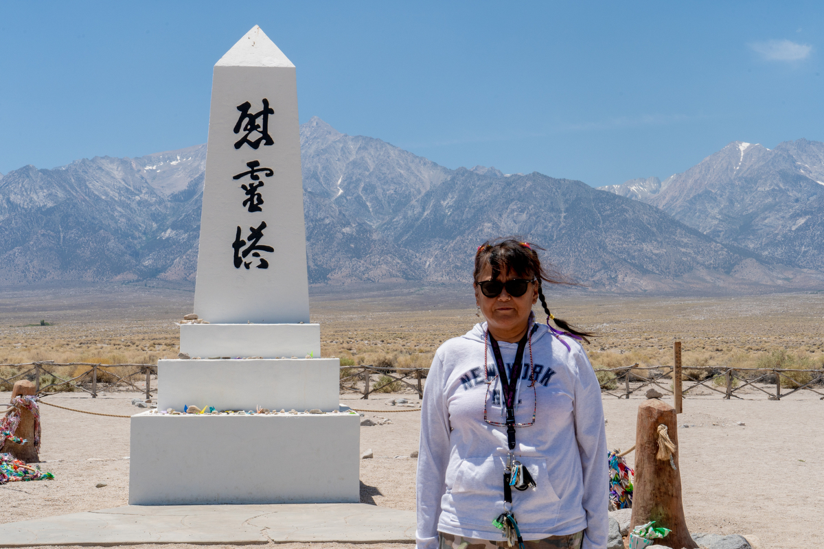 Mina Monden visited the Manzanar Historic Site with her nephews, who were visiting from Japan. (Lenny Martinez Dominguez/News21)