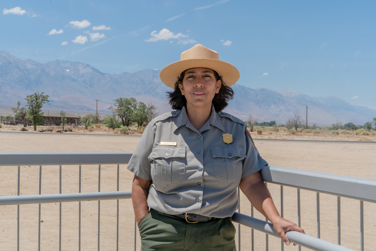 "Bernadette Johnson, superintendent of the National Park Service at Manzanar. ""We know it's a dark part of our nation, but it's a place where people have to come and contemplate what can happen when fear and racism occur,"" Bernadette said. ""That is what led to the incarceration of Japanese-Americans during WWII. We simply cannot forget what happened to those people and we cannot let it happen again."" (Lenny Martinez Dominguez/News21)"