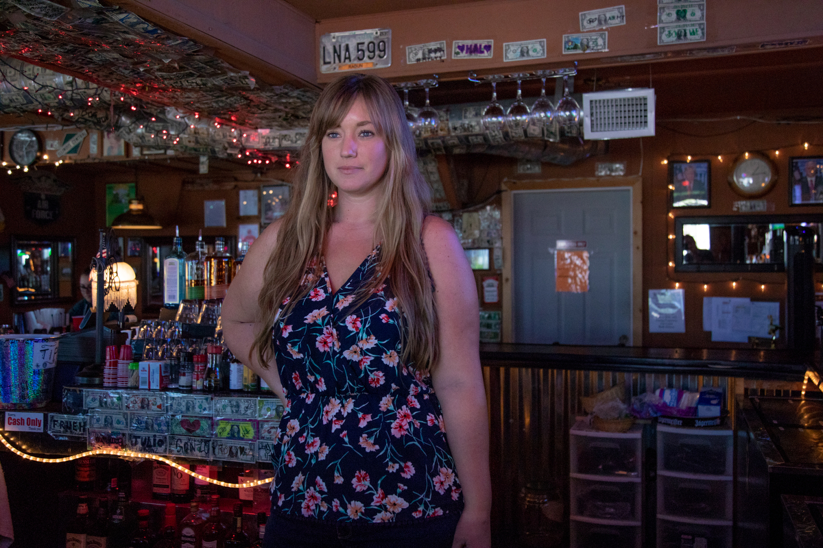 """People just need to really make sure what they believe in is really good. People don't always do that,"" said Kari Wilson, 26, a bartender at The Virginian in Twentynine Palms, California. (Lenny Martinez Dominguez/News21)"