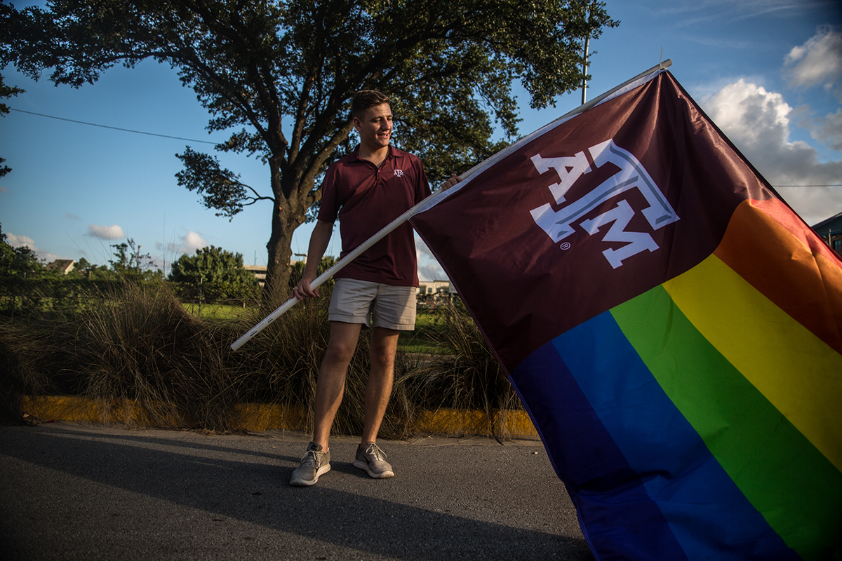 In June, Texas A&M University's LBGTQ group participated in the Houston Pride Parade for the second year in a row. Bobby Brooks helped spearhead the university officially sponsoring the group for the first time in 2017. (Shelby Knowles/News21)