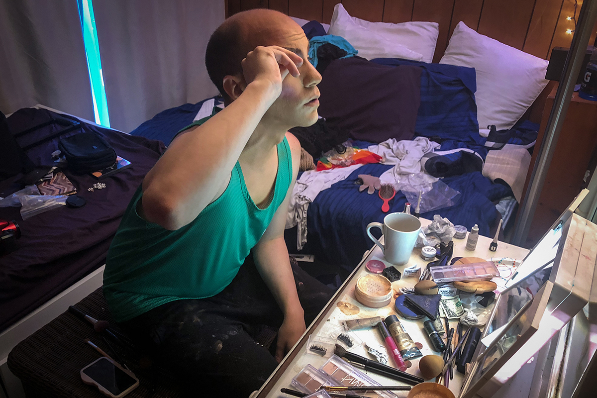 "Brandon Ballone, a drag queen in New York, prepares for a show at his home near Long Island, New York. He was a victim of violent crime during a night out in April 2016. ""Emotionally, to get better it took me probably over a year,"" he said. ""Still there's days where I have a little PTSD. I rarely walk home late at night on the streets."" (Emmanuel Morgan/News21)"