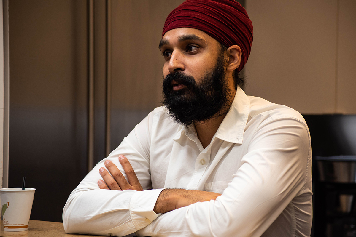 """Muslim in this country has become a bad word,"" said Simran Jeet Singh, a senior religion fellow at the Sikh Coalition in New York. ""It has become wrong to associate with a particular religious tradition. ... A lot of this hate is rooted in ignorance because people are assuming that I'm Muslim when I'm not, just because of their sort of racial understanding of who I am based on my appearance."" (Ashley Mackey/News21)"