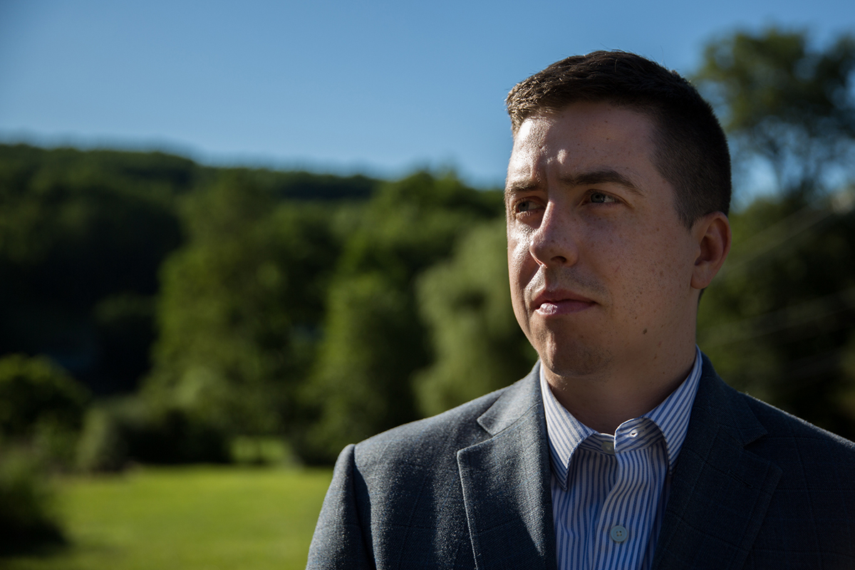 Patrick Casey is executive director of Identity Evropa, a white-nationalist group that actively recruits on college campuses. The group distributes recruitment fliers, stickers and posters on campuses, which draws news media attention that further spreads its message. (Shelby Knowles/News21)