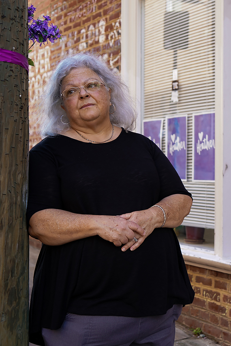 Susan Bro, mother of Heather Heyer, who was killed during the Unite the Right rally, visits her daughter's memorial regularly. (Kianna Gardner/News21)